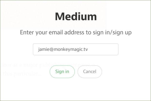 新しいMediumのログイン画面