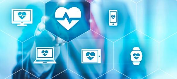 Businessman pointing towards camera selecting health application, virtual interface